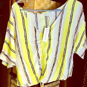 Cupcakes and Cashmere Atalanta Striped Crepe Shirt